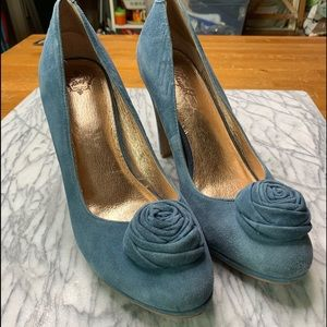 Anthropologie Miss Albright Suede Blue Shoe Rose